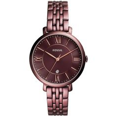 Fossil Jacqueline Stainless Steel Bracelet Watch ($145) ❤ liked on Polyvore featuring jewelry, watches, wine, stainless steel jewellery, quartz movement watches, stainless steel wrist watch, roman numeral watches and fossil wrist watch
