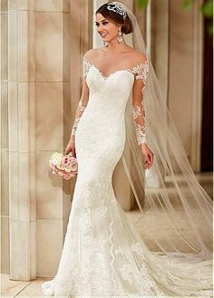 51f236ebd2 Maravillosos vestidos de novia de tul joya cuello de la sirena con los  Appliques… Vestidos