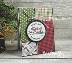 StampItHop-Festive Farmhouse - Stampin Up Scrapbook Christmas Cards, Christmas Cards 2018, Stamped Christmas Cards, Christmas Labels, Xmas Cards, Scrapbook Cards, Stampin Up Christmas, Plaid Christmas, Funny Christmas