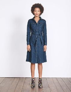 #Boden Laura Denim Shirt Dress Bright Blue Wash Women #Our button-through denim dress is a real little masterpiece - with metal buttons and removable belt it certainly ticks all the boxes. Fitted but with a little added extra stretch for easy movement. Running from the office to the bar just got a little easier.