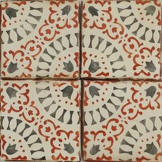 "Paris Metro hand painted terracotta tile by Tabarka Studio, 4 1/8"" x 4 1/8"" charcoal & paprika on off white"