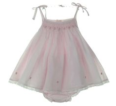 NEW Sarah Louise Pale Pink Voile Smocked Sundress with Lace Trimmed Bloomers $60.00