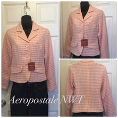 ❌Host PickPretty tweed jacket 100% acrylic and lining is 100% polyester. Brand new with tags. Shades if pink and lime green . Aeropostale Jackets & Coats