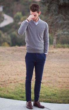 Simple blue & Gray - #mens #blue #gray #outfit #fashion
