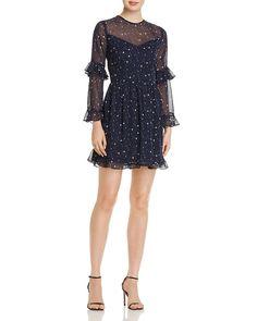 90985aff720b AQUA Ruffled Star Print Dress - 100% Exclusive Women - Dresses -  Bloomingdale's
