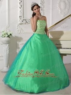 Sweet Spring Green Quinceanera Dress Sweetheart Tulle Beading Ball Gown  http://www.fashionos.com    You will be the belle of the ball in this green quinceanera dress. It features a strapless bodice with a sweetheart neckline. The bodice is decorate with carefully placed beadings throughout. The tulle skirt makes the dress look full and gracious. A lace up corset style closure in the back secures the dress in place. I am sure you will like this gorgeous and fashionable dress