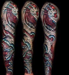 Lower Leg Sleeve Tattoo | biomechanical full sleeve tattoos