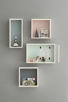 Adorable shadow boxes! Wood IKEA boxes painted with lovely pastels.