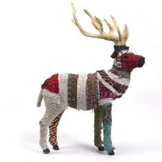 Fabric Textile Reindeer covered in exotic fabrics with bell and wooden antler details. Available in the V Victoria Albert Museum online and in London. Dappled Light, V & A Museum, Deer Art, Amish Quilts, The V&a, Plastic Animals, Victoria And Albert Museum, Antlers, Reindeer