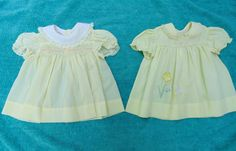 2 yellow BABY Dress DRESSES size 1/2  one smocked one embroidered bunny and flower vintage 1970s by OurVintageWay on Etsy