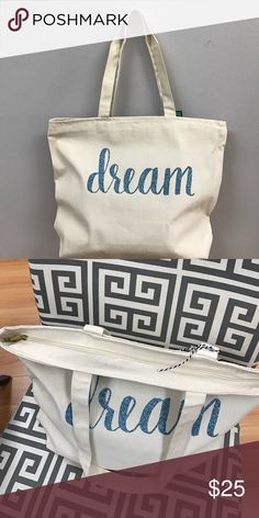 """Hand Lettered """"Dream"""" Natural Tote Bag Hand Lettered """"Dream"""" Natural Tote Bag Bags Totes"""
