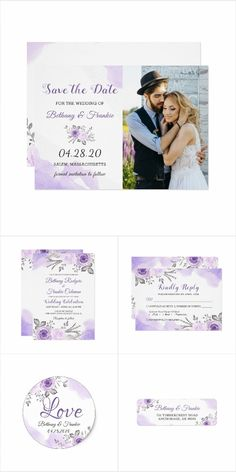 Watercolor Pastel Purple Floral Invitation Suite Spring Wedding Invitations, Floral Invitation, Wedding Invitation Design, Custom Invitations, Wedding Themes, Wedding Decorations, Korean Wedding Photography, Pastel Purple, Save The Date Cards