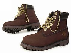 Dark Brown Timberland 6 Inch Boots With Gold Chain for Women