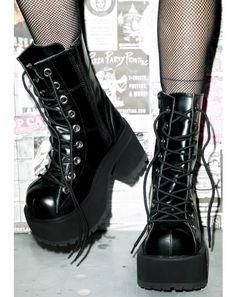 #DollsKill #FuckYerGender #photoshoot #lookbook #Demonia #under #pressure #platform #boot #black #laces #shiny
