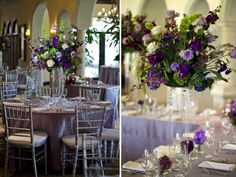 sparkly beads on tall centerpieces