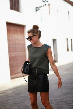 How to Chic: ASYMMETRIC LEATHER ZIPPER SKIRT
