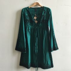  NWT Lucky Brand Tunic/ Dress Brand new with tags forest green v-neck tunic/ dress with beautiful embroidery.  100% cotton.  In brand condition. Lucky Brand Tops Tunics