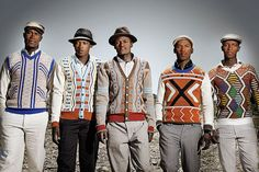 laduma ngxokolo: xhosa-influenced knitwear This is so sick on so many levels. xhosa beadwork interpreted into men's knitwear by a homegrown south african design grad. African Inspired Fashion, African Men Fashion, Africa Fashion, Mens Fashion, Folk Fashion, Afro, Espace Design, South African Design, Xhosa