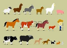 Cute Cartoon Farm Characters including a farmer and 17 animals  Sheep, Llama, Donkey, Goat, Alpaca, Pig, Horse, Cow, Mule, Calf, Cow, Buffalo, Great Dane Dog, German Shepherd Dog, Cat, Hare, and Rabbit  photo