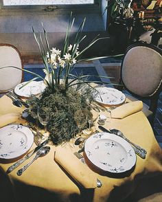 """Pauline de Rothschild.   At Pauline's table,  Château Mouton, seen in """"The Best in European Decoration"""", published in 1963."""