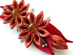 Kanzashi fabric flower hair clip. Red kanzashi. Red by JuLVa