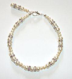 Cream Glass Pearl BraceletSparkly Bracelet by ElizabettaJewellery