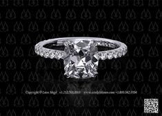 Solitaire engagement ring cushion cut by Leon Mege