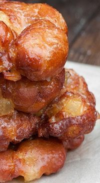 These are the real deal. They are made with a great yeast-raised dough, which is chopped together with cooked apple chunks and perfectly speckled with cinnamon. The glaze adds a thin layer of sweetness and makes these beautiful donuts sparkle.