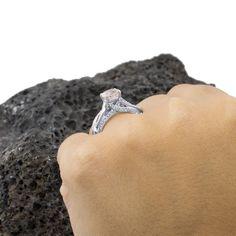 Ring Diamonds Engagement RingMorganite by AviantiJewelry on Etsy
