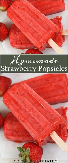 Homemade Strawberry Popsicles are made with strawberries strawberry puree and water. These Strawberry Frozen Fruit Bars are just like Outshine Bars and simple to make. (EASY to make homemade popsicles! Home Made Popsicles Healthy, Homemade Fruit Popsicles, Healthy Popsicle Recipes, Ice Pop Recipes, Pureed Food Recipes, Fruit Recipes, Summer Recipes, Dessert Recipes, Water Recipes