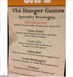 Hunger games drinks at Starbucks!