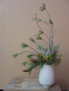 winter centerpiece with pine