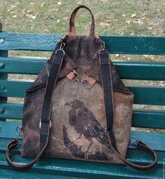 льняной рюкзак, сумка-трансформер, ворон, готический стиль, стимпанк, nevermore, NEVERMORE, рюкзак из ткани, мужской рюкзак, унисекс, стильный рюкзак