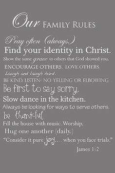 christian, life rules, a frame, house rules, future family