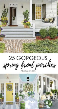Spring leads the way to warmer weather, beautiful blooms, and lots of sitting out on the porch listening to the birds! And it's no surprise I love decorated spring front porches! House Front Porch, Front Porch Design, Cottage Front Porches, Southern Front Porches, Summer Front Porches, Planters For Front Porch, Summer Porch Decor, Porch Plants, Country Porches