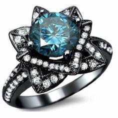 Amazon.com: 2.03ct Blue Round Diamond Lotus Flower Engagement Ring 14k Black Gold With a 1.08ct Center Diamond and .95ct of Surrounding Diamonds: Jewelry