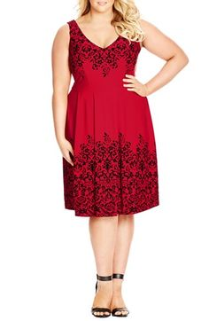 City Chic Border Flocked Fit & Flare Dress (Plus Size) available at #Nordstrom