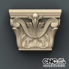 Capitel 1010 Antique Decorative Floral Design Ready For Cnc Machining Wood Cornice, Diy Plaster, Pillar Design, Clay Wall Art, House Trim, Column Design, Wood Carving Designs, 3d Cnc, Wooden Door Design
