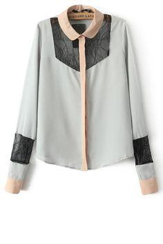 Lace Paneled Button-up Shirt