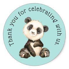 Cute Panda Bear Thank You Classic Round Sticker - individual customized designs custom gift ideas diy