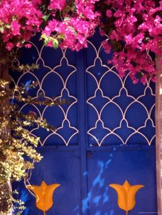 size: Photographic Print: Blue Doors and Bougainvillea, Koskinou Village, Rhodes, Dodecanese Islands, Greece by Steve Outram : Artists Unique Doors, Color Photography, Door Design, Shades Of Blue, Perfume Bottle, Framed Artwork, Giclee Print, Greece, Blue Doors