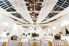 Bound to be important among 2018 wedding trends is the Pantone Spring 2018 Colour: Meadowlark. This wedding shows how the delicate Meadowlark details can enhance even a predominantly white setting. Wedding Draping, Tent Wedding, Wedding Show, Festival Wedding, Gold Wedding, Spring Wedding, Barn Party Decorations, Wedding Venue Inspiration, Wedding Ideas