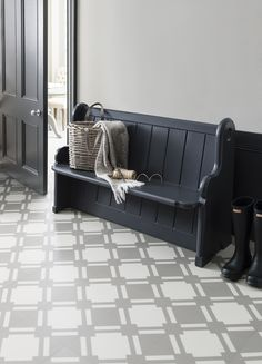 Create a statement with the new geometric flooring range from @NeishaCrosland, exclusive to Harvey Maria - Neisha Crosland Check Vinyl Tile in Flint Grey from Harvey Maria. http://www.harveymaria.com/Floor-Range/Neisha-Crosland/check-flint-grey