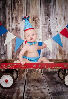 Boys Cake Smash Outfit: Nautical, Bow Tie, Diaper Cover, Party Hat, First 1st Birthday. $50.00, via Etsy.
