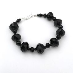 Pulsera de novia negro / negro cristal pulsera nupcial /