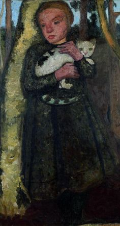 Painting by Paula Modersohn-Becker, ca. 1904, Mädchen im Birkenwald mit Katze (Girl in the birch forest with cat).
