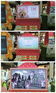Interactive decor can be games and it can also be advertisements for upcoming events.