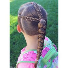 3 ponies in front with 2 braids on each one...pulled into a braided ponytail! Happy Friday!