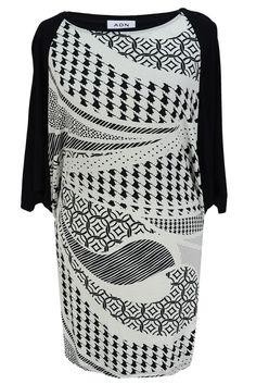 Aldona tunika krótki rękaw wzór biało-czarny #tunic #blackandwhite #patterns #fasion #outlet