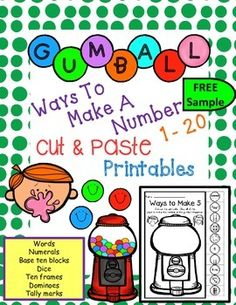 Who doesn't like bubble gum?!  Enjoy 3 FREE printables as a sample of my packet of 1-20.  Use these NO PREP cut & paste printables as a math center, morning work, classwork, guided math work, or even as homework.  You get one printable sheet for every number from 1 to 20.